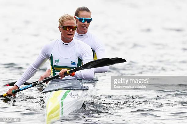 Alyssa Bull and Alyce Burnett of Australia look on after they compete in the K2 W 500 during Day 1 of the ICF Canoe Sprint World Cup 1 held at...