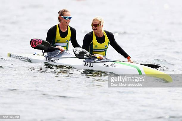 Alyssa Bull and Alyce Burnett of Australia look on after they compete in the K2 W 500 Final during Day 2 of the ICF Canoe Sprint World Cup 1 held at...