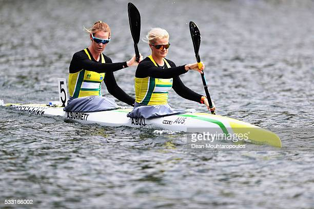 Alyssa Bull and Alyce Burnett of Australia look on before they compete in the K2 W 500 Final during Day 2 of the ICF Canoe Sprint World Cup 1 held at...