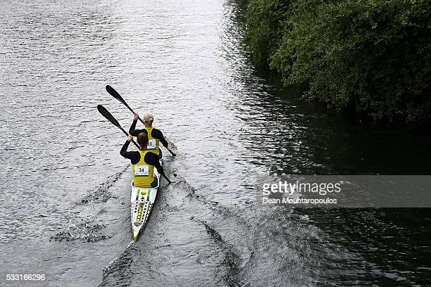 Alyssa Bull and Alyce Burnett of Australia paddle after they compete in the K2 W 500 Final during Day 2 of the ICF Canoe Sprint World Cup 1 held at...
