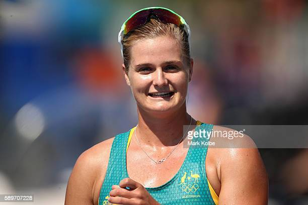 Alyssa Bull of Australia looks on after qualifying for the Final A after competing in the Canoe Sprint Women's Kayak Double 500m Semifinal 1 on Day...