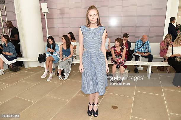 Alyssa Campanella attends the Monique Lhuillier fashion show during New York Fashion Week September 2016 at The IAC Building on September 13 2016 in...