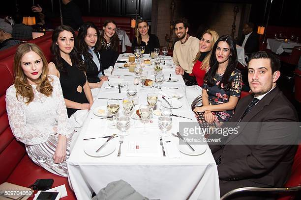 Alyssa Campenalla actress Adelaide Kane guests Natalie Zfat and Louis Greco attend the Natalie Zfat's NYFW Dinner at Lamb's Club on February 11 2016...