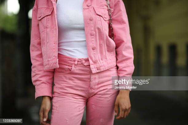 Alyssa Cordes wearing Fabienne Chapot jeans combi and Topshop white shirt on May 05, 2020 in Berlin, Germany.
