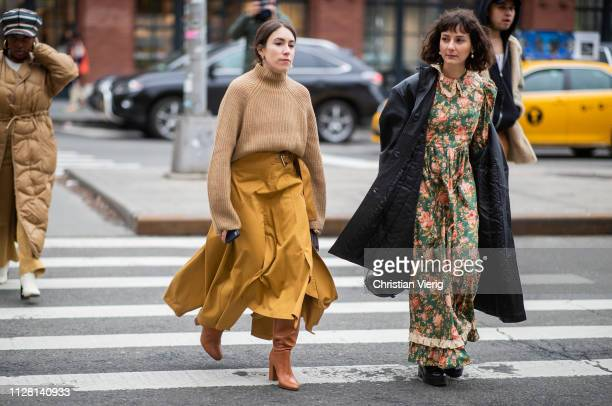 Alyssa Coscarelli is seen wearing dress with floral print outside Collina Strada during New York Fashion Week Autumn Winter 2019 on February 07, 2019...