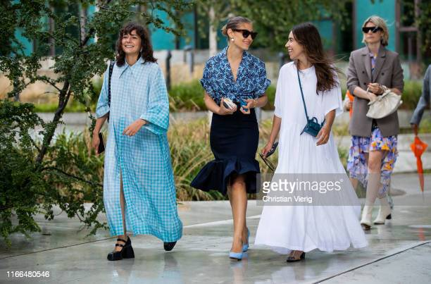 Alyssa Coscarelli wearing blue button up dress Jenny Walton seen outside Brøgger during Copenhagen Fashion Week Spring/Summer 2020 on August 06 2019...