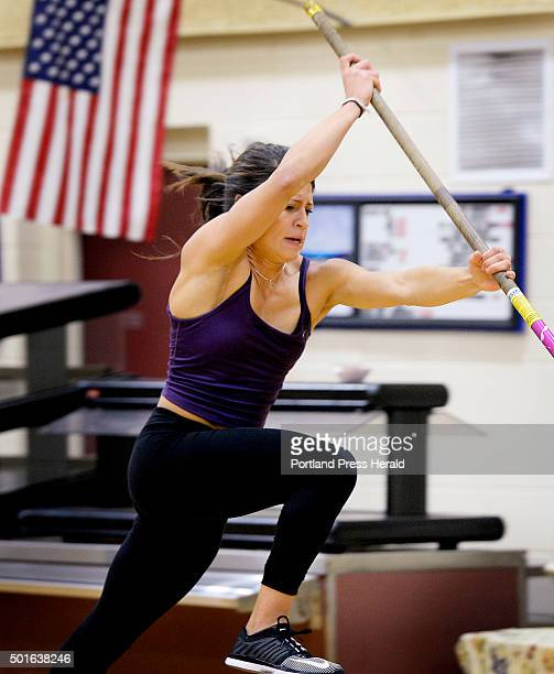 Alyssa Coyne of Greely works on her pole vault techniques during practice Monday December 7 2015
