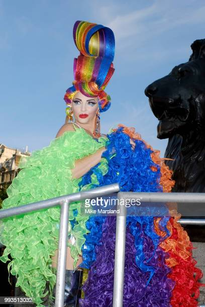 Alyssa Edwards backstage at the Trafalgar Square Stage during Pride In London on July 7 2018 in London England It is estimated over 1 million people...