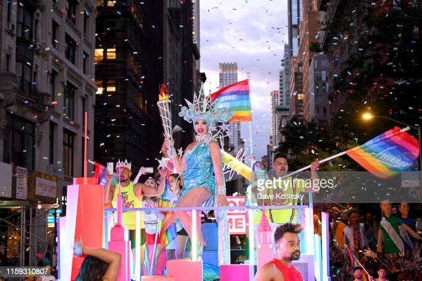 "Alyssa Edwards poses as ""Lady Liberty"" on the New York City themed Smirnoff float to ""Welcome Home"" millions of LGBTQIA+ community members at the NYC..."