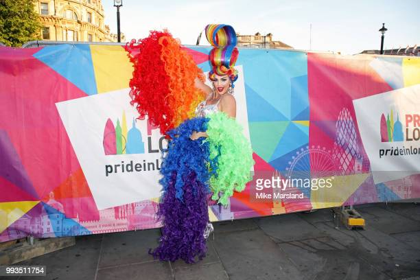 Alyssa Edwards poses at the Trafalgar Square Stage during Pride In London on July 7 2018 in London England It is estimated over 1 million people will...
