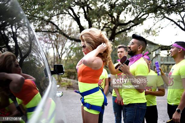 Alyssa Edwards preparing to make her zipline entrance during Camp TAZO an overnight camp where adults take a break from their routine and explore...