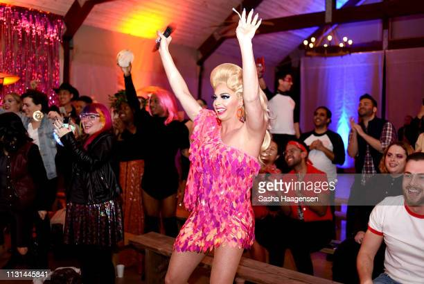 Alyssa Edwards reacts to the talent show during Camp TAZO on March 16 2019 in Marble Falls Texas TAZO partners with drag star Alyssa Edwards to host...
