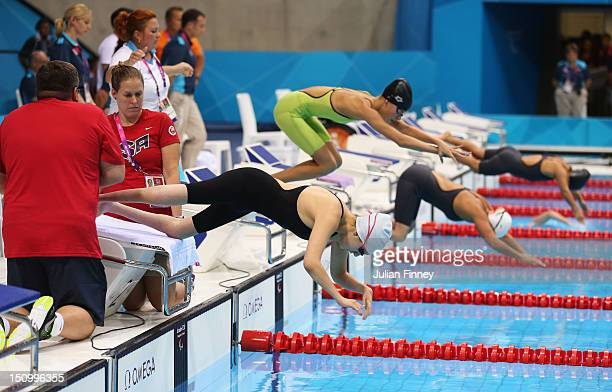 Alyssa Gialamas of the United States competes in the Women's 50m Freestyle S5 heat 1 on day 1 of the London 2012 Paralympic Games at Aquatics Centre...