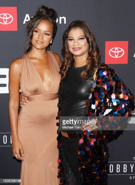 Alyssa Goss and Alicia Etheredge attend the Los Angeles premiere screening of 'The Bobby Brown Story' held at Paramount Theatre on August 29 2018 in...