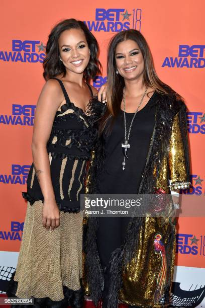 Alyssa Goss and Alicia Etheredge pose in the press room at the 2018 BET Awards at Microsoft Theater on June 24 2018 in Los Angeles California