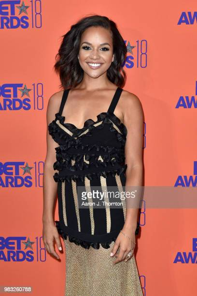 Alyssa Goss poses in the press room at the 2018 BET Awards at Microsoft Theater on June 24 2018 in Los Angeles California