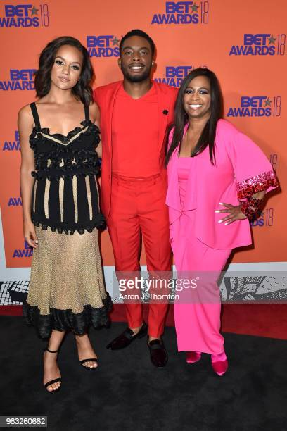 Alyssa Goss Woody McClain and Sandi McCree pose in the press room at the 2018 BET Awards at Microsoft Theater on June 24 2018 in Los Angeles...