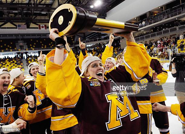 Alyssa Grogan of the Minnesota Gophers celebrates after winning the championship game of the 2012 NCAA Women's Frozen Four against the Wisconsin...