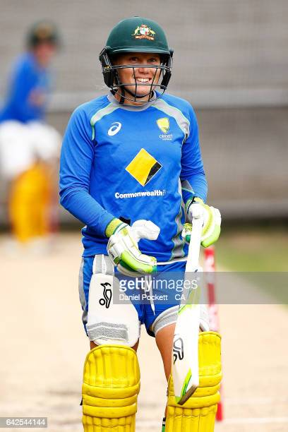 Alyssa Healy during a Southern Stars training session at Melbourne Cricket Ground on February 18 2017 in Melbourne Australia