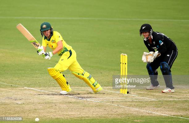 Alyssa Healy of Australia bats during game three of the One Day International Series between Australia and New Zealand at Junction Oval on March 03...