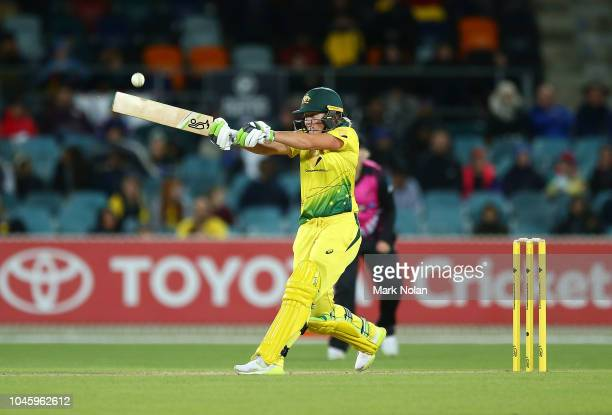 Alyssa Healy of Australia bats during game three of the Twenty20 series between Australia and New Zealand at Manuka Oval on October 5 2018 in...