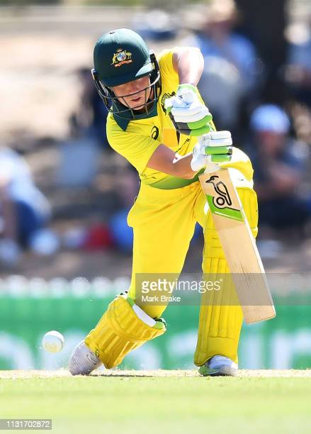 Alyssa Healy of Australia bats during game two of the One Day International Series between Australia and New Zealand at Karen Rolton Oval on February...