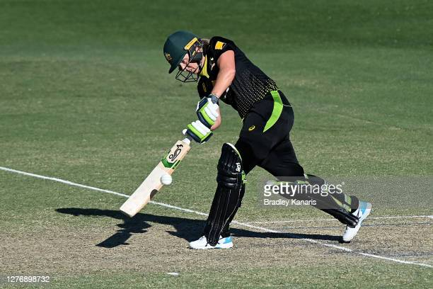 Alyssa Healy of Australia bats during game two of the T20 Women's International series between Australia and New Zealand at Allan Border Field on...
