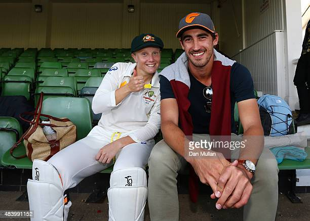 Alyssa Healy of Australia celebrates with boyfriend Mtichell Starc of Australia following victory during day four of the Kia Women's Test of the...