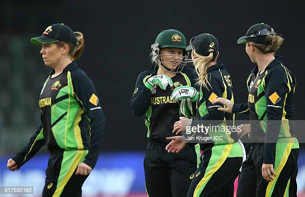 Alyssa Healy of Australia chats with team mates during the Women's ICC World Twenty20 India 2016 match between Australia and Ireland at The Feroz...