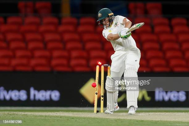 Alyssa Healy of Australia is bowled by Jhulan Goswami of India during day four of the Women's International Test Match between Australia and India at...