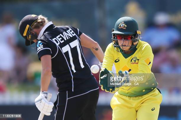 Alyssa Healy of Australia keeps during game three of the One Day International Series between Australia and New Zealand at Junction Oval on March 03...