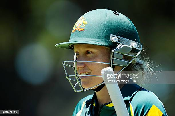 Alyssa Healy of Australia leaves the field after victory during the women's International Twenty20 match between Australia and the West Indies at...