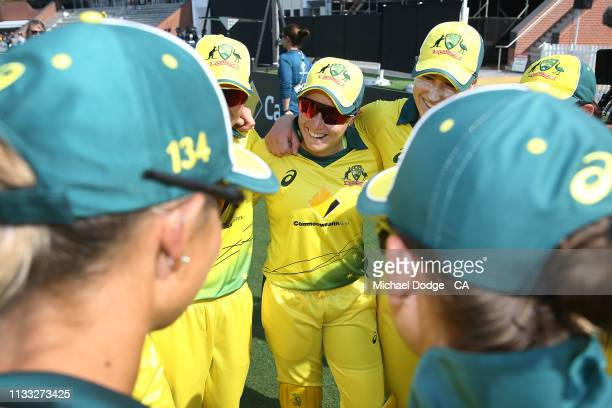 Alyssa Healy of Australia listens on during game three of the One Day International Series between Australia and New Zealand at Junction Oval on...