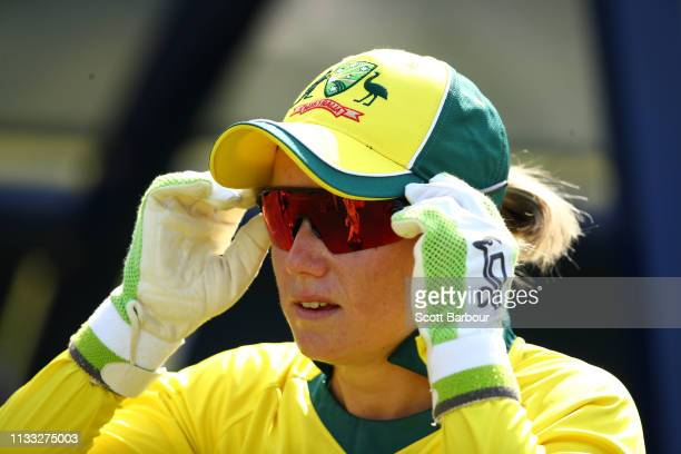 Alyssa Healy of Australia lo during game three of the One Day International Series between Australia and New Zealand at Junction Oval on March 03...