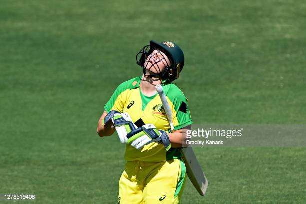 Alyssa Healy of Australia looks dejected after losing her wicket during game two of the Women's International series between Australia and New...