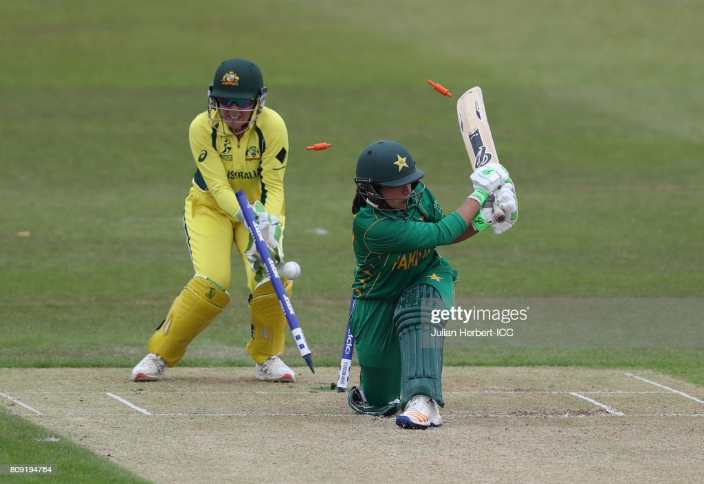 Alyssa Healy of Australia looks on as Bibi Nahdia of Pakistan is bowled during The ICC Women's World Cup 2017 match between Pakistan and Australia at Grace Road on July 5, 2017 in Leicester, England.