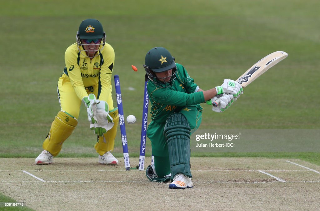 Alyssa Healy of Australia looks on as Bibi Nahdia of Pakistan is bowled during The ICC Women's World Cup 2017 match between Pakistan and Australia at Grace Road on July 5, 2017 in Leicester, England. (Photo by Julian Herbert-IDI/IDI via Getty Images) Julian Herbert-IDI/IDI via Getty Images)