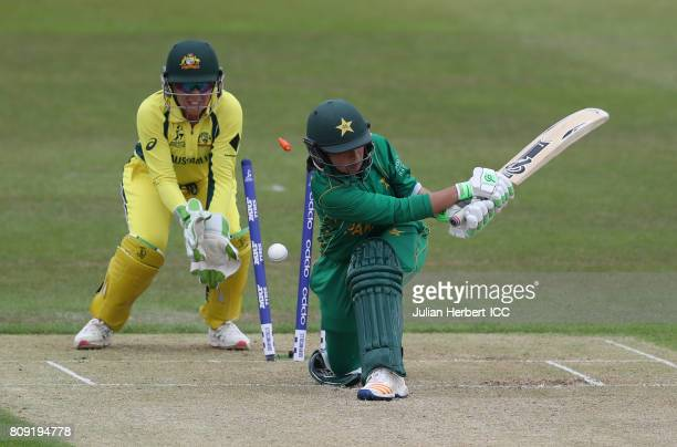 Alyssa Healy of Australia looks on as Bibi Nahdia of Pakistan is bowled during The ICC Women's World Cup 2017 match between Pakistan and Australia at...