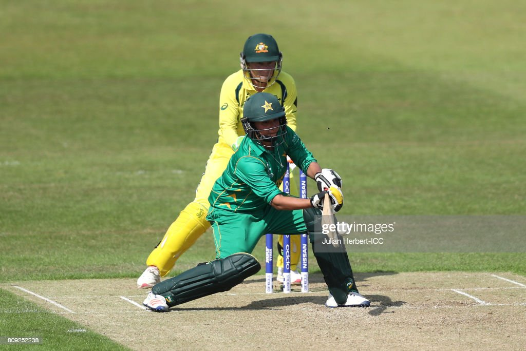 Alyssa Healy of Australia looks on as Sana Mir of Pakistan scores runs during The ICC Women's World Cup 2017 match between Pakistan and Australia at Grace Road on July 5, 2017 in Leicester, England.
