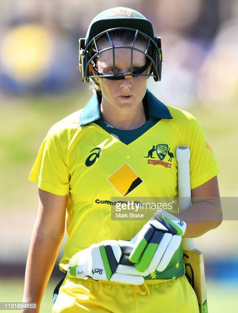 Alyssa Healy of Australia out bowled by Anna Peterson of New Zealand during game two of the One Day International Series between Australia and New...