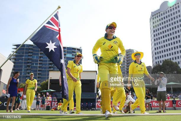 Alyssa Healy of Australia runs out during game three of the One Day International Series between Australia and New Zealand at Junction Oval on March...