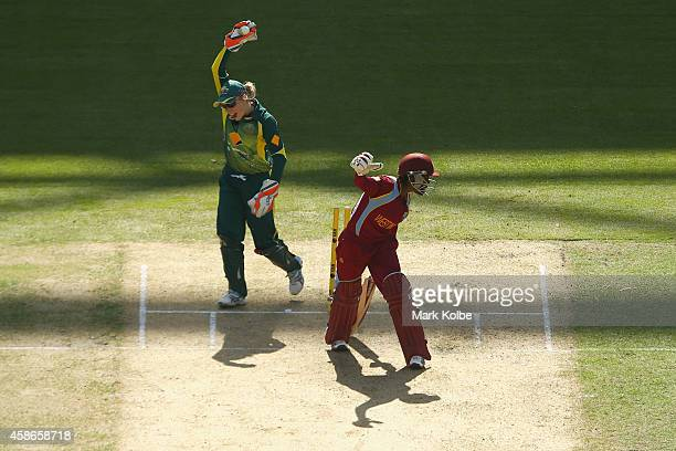 Alyssa Healy of Australia successfully appeals for the wicket of Shemaine Campbelle of the West Indies during game four of the women's International...