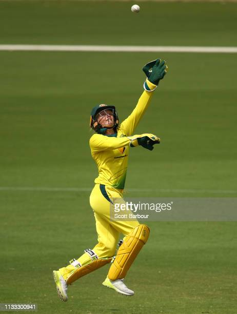 Alyssa Healy of Australia wicketkeeps during game three of the One Day International Series between Australia and New Zealand at Junction Oval on...
