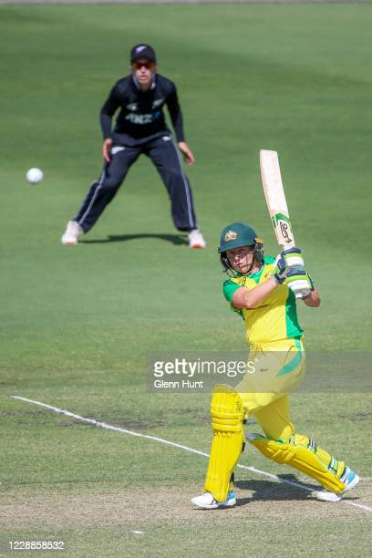 Alyssa Healy of the Australia batting during game one in the women's One Day International Series between Australia and New Zealand at Allan Border...