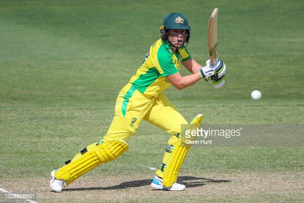 Alyssa Healy of the Australia in action during game one in the women's One Day International Series between Australia and New Zealand at Allan Border...