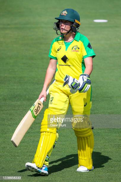 Alyssa Healy of the Australia leaves the field after getting out during game one in the women's One Day International Series between Australia and...