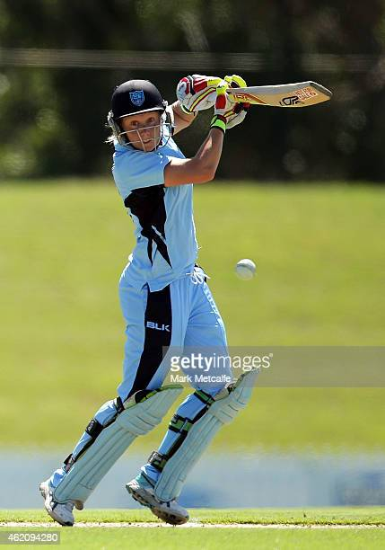 Alyssa Healy of the Breakers bats during the WNCL Final match between South Australia and New South Wales at Blacktown International Sportspark on...