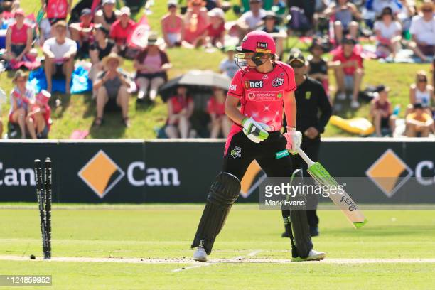 Alyssa Healy of the Sixers bowled by Delissa Kimmince of the Heat during the Women's Big Bash League Final between the Sydney Sixers and the Brisbane...