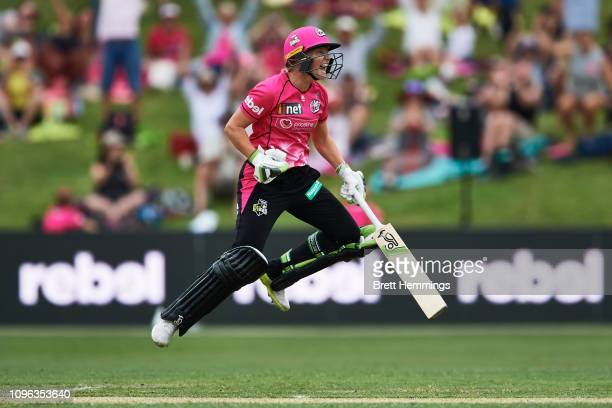 Alyssa Healy of the Sixers celebrates after victory during the Women's Big Bash League match between the Sydney Sixers and the Melbourne Renegades on...