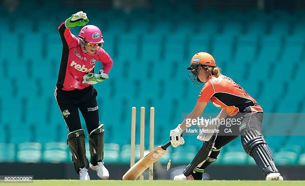 Alyssa Healy of the Sixers celebrates stumping Heather Graham of the Scorchers off the bowling of Sarah Aley of the Sixers during the Women's Big...